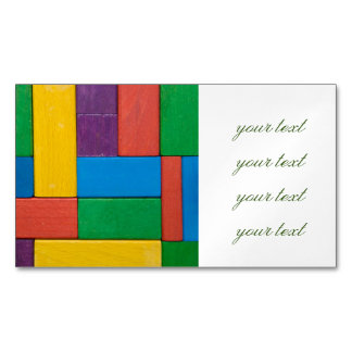 Wood,colorful,building blocks,kids,fun,happy,retro magnetic business card