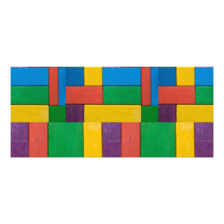 Wood,colorful,building blocks,kids,fun,happy,retro custom rack cards