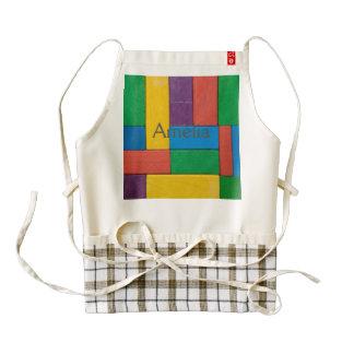 Wood,colorful,building blocks,kids,fun,happy,retro zazzle HEART apron