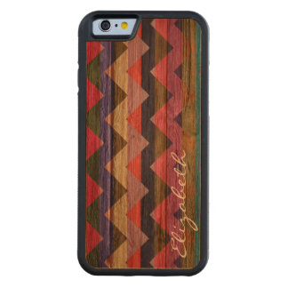 Wood Colorful Chevron Stripes #11 Carved Cherry iPhone 6 Bumper Case