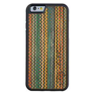 Wood Colorful Chevron Stripes Monogram #11 Carved Cherry iPhone 6 Bumper Case
