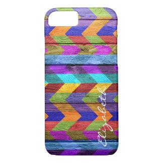 Wood Colorful Chevron Stripes Monogram #11 iPhone 8/7 Case
