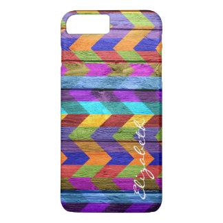 Wood Colorful Chevron Stripes Monogram #11 iPhone 8 Plus/7 Plus Case