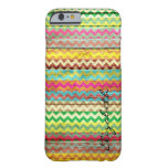 Wood Colorful Chevron Stripes Monogram #7 Barely There iPhone 6 Case