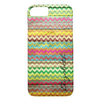 Wood Colorful Chevron Stripes Monogram #7 iPhone 7 Case
