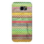 Wood Colorful Chevron Stripes Monogram Samsung Galaxy S6 Cases
