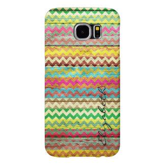 Wood Colorful Chevron Stripes Monogram Samsung Galaxy S6 Case