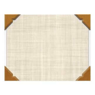 Wood Corners On Linen Look Paper Background Flyer
