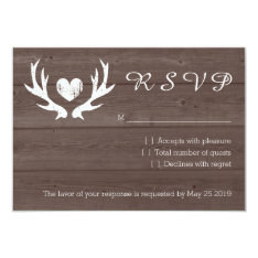 Wood country chic deer antler RSVP wedding cards at Zazzle