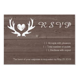 Wood country chic deer antler RSVP wedding cards