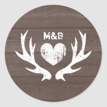 Wood country chic deer antler wedding stickers