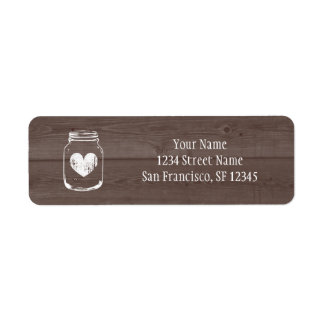 Wood country chic mason jar Return Address labels