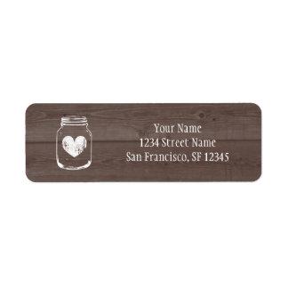 Wood country chic mason jar Return Address labels