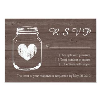 Wood country chic mason jar RSVP wedding cards