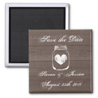 Wood country chic mason jar save the date magnets