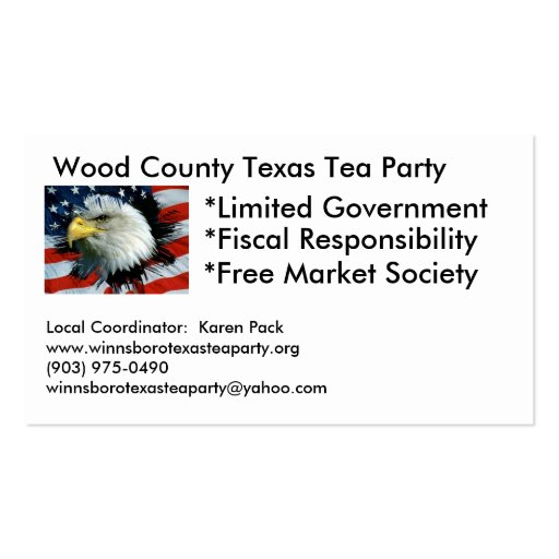 Wood County Texas Tea Party Business Cards