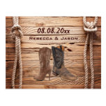wood Cowboy Boots Western country save the date Post Card