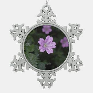Wood Cranesbill Snowflake Pewter Christmas Ornament