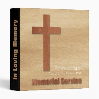 Wood Croos Christian Memorial Service Guest Book 3 Ring Binder
