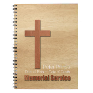 Wood Croos Christian Memorial Service Guest Book Notebook