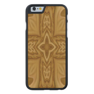 Wood Cross Pattern Carved Maple iPhone 6 Case