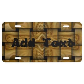 Wood cross weave pattern license plate