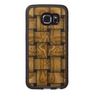 Wood cross weave pattern wood phone case