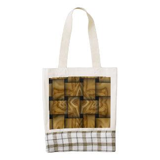 Wood cross weave pattern zazzle HEART tote bag