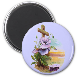 Wood Cross With Purple Flowers 2 Inch Round Magnet