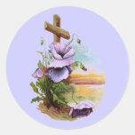 Wood Cross With Purple Flowers Classic Round Sticker