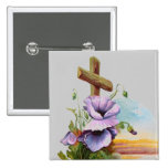 Wood Cross With Purple Flowers Pins