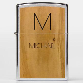 wood custom name and initial (monogram) elegant zippo lighter