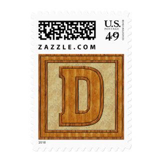 Wood D Monogram Postage