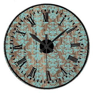 Wood damask pattern vintage rustic chic chandelier large clock