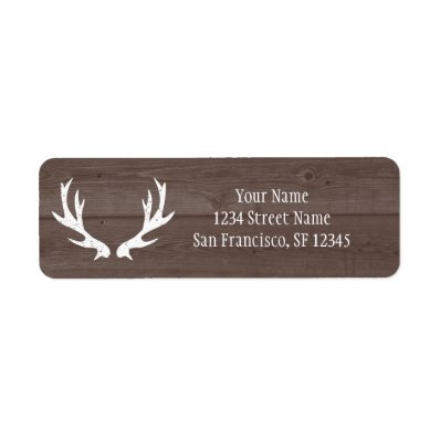 Wood deer antler wedding Return Address labels