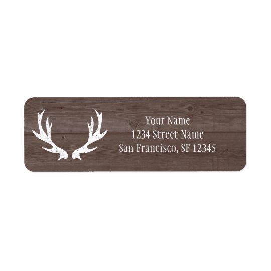 wood deer antler wedding return address labels zazzle com