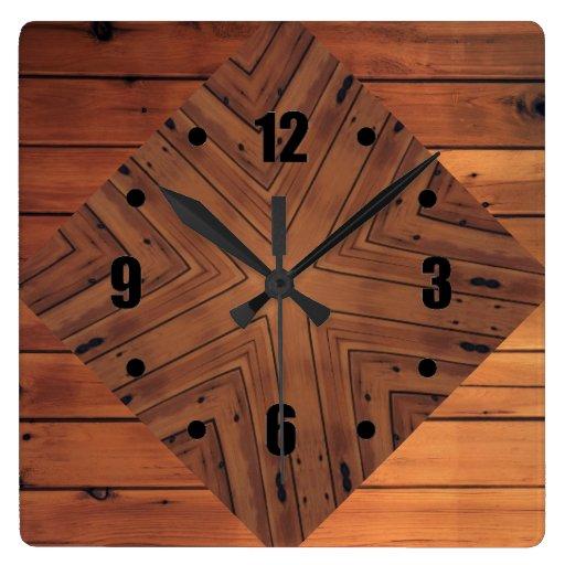 Wall Design Square : Wood design square wall clocks zazzle