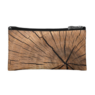 Wood Design Zippered Pouch Cosmetic Bag