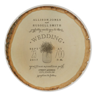 Wood Disc Inspired Baby's Breath Wedding Card
