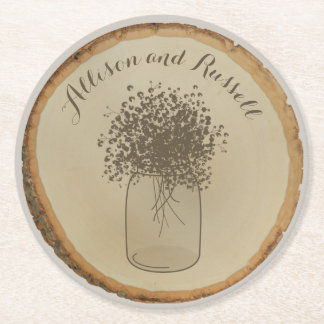 Wood Disc Inspired Baby's Breath Wedding Coaster