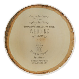 Wood Disc Inspired Circle Wedding Invitation
