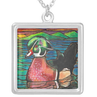 Wood Duck At Sunset Stained Glass Art! Necklace