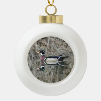 Wood Duck Ceramic Ball Christmas Ornament