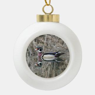 Wood Duck Ceramic Ball Christmas Ornament