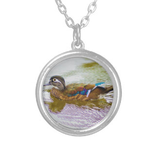 Wood Duck Hen Silver Plated Necklace