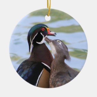 Wood Duck Kiss Ceramic Ornament