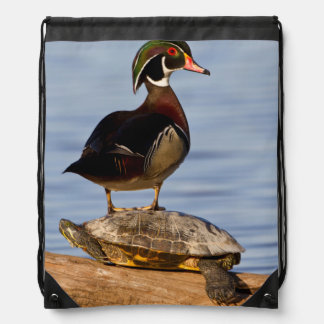 Wood Duck male standing on Red-eared Slider Drawstring Bag