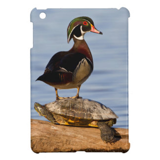 Wood Duck male standing on Red-eared Slider iPad Mini Cover