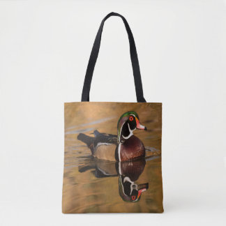 Wood Duck on Golden Lake Tote Bag