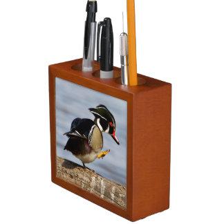 Wood Duck on log in wetland Desk Organizer